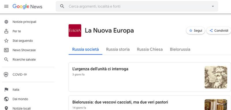 Segui La Nuova Europa su Google News